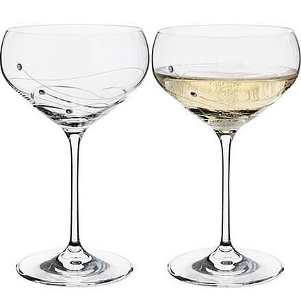 Dartington Crystal GLITZ Champagne Saucers 10.6oz / 300ml (Set of 2)