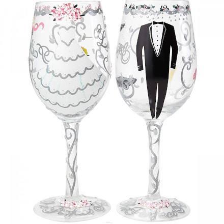 "LOLITA Wedding ""Bride"" & ""Groom"" Wine Glasses Gift Set 15.5oz / 440ml (Set of 2)"