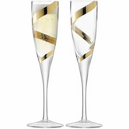 LSA Malika Grand Champagne Flutes Gold Spiral 7.9oz / 225ml (Set of 2) Image